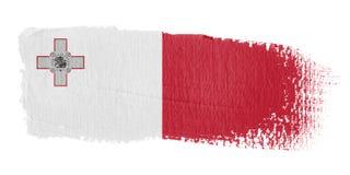 De Vlag Malta van de penseelstreek Stock Afbeeldingen