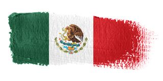 De Vlag Mexico van de penseelstreek Stock Fotografie