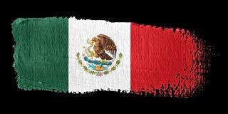 De Vlag Mexico van de penseelstreek stock illustratie