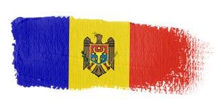 De Vlag Moldova van de penseelstreek Stock Afbeelding