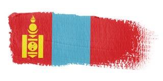 De Vlag Mongolië van de penseelstreek Royalty-vrije Stock Afbeeldingen
