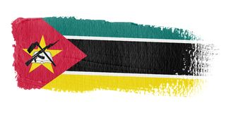 De Vlag Mozambique van de penseelstreek Stock Afbeeldingen