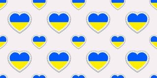 De vlag naadloos patroon van de Oekraïne Vector Oekraïense vlaggenstikers De symbolen van liefdeharten Textuur voor taalcursussen vector illustratie