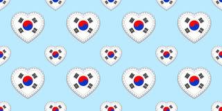 De vlag naadloos patroon van Zuid-Korea Vector Zuidkoreaanse vlaggenstickers De symbolen van liefdeharten Textuur voor taalcursus vector illustratie