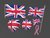 De vlag nationale symbolisch van het Verenigd Koninkrijk, Londen Stock Fotografie