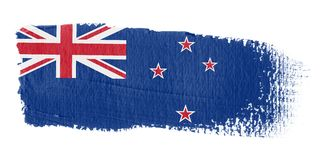 De Vlag Nieuw Zeeland van de penseelstreek Stock Foto