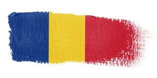 De Vlag Roemenië van de penseelstreek Stock Foto