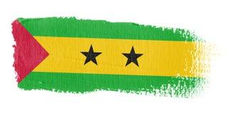 De Vlag Sao Tomé en Principe van de penseelstreek Stock Afbeelding