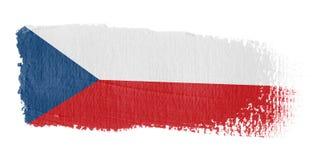 De Vlag Tsjechische Republi van de penseelstreek Stock Foto's