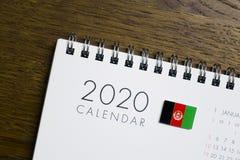 De Vlag van Afghanistan op de Kalender van 2020 stock fotografie