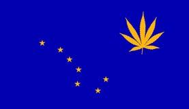 De vlag van Alaska met marihuanablad Royalty-vrije Stock Afbeeldingen