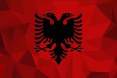 De vlag van Albanië op een geweven stoffenachtergrond Vector illustratie royalty-vrije illustratie