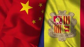De Vlag van Andorra en van China - 3D illustratie Twee Vlag royalty-vrije illustratie