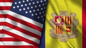 De Vlag van Andorra en van de V.S. - 3D illustratie Twee Vlaggen royalty-vrije illustratie