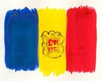 De vlag van Andorra van de waterverf Stock Foto