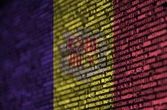 De vlag van Andorra wordt afgeschilderd op het scherm met de programmacode Het concept moderne technologie en plaatsontwikkeling royalty-vrije illustratie
