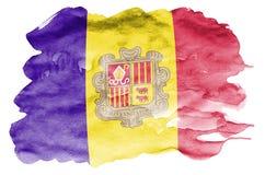 De vlag van Andorra wordt in vloeibare waterverfstijl afgeschilderd die op witte achtergrond wordt geïsoleerd royalty-vrije illustratie