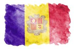 De vlag van Andorra wordt in vloeibare waterverfstijl afgeschilderd die op witte achtergrond wordt geïsoleerd stock illustratie