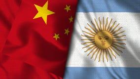 De Vlag van Argentinië en van China - 3D illustratie Twee Vlag royalty-vrije illustratie