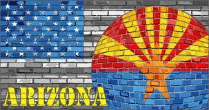 De vlag van Arizona op de grijze V.S. markeert achtergrond Stock Afbeeldingen