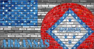 De vlag van Arkansas op de grijze V.S. markeert achtergrond Stock Fotografie