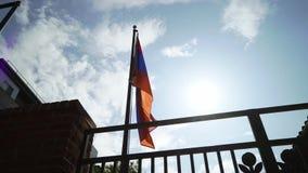 De Vlag van Armeni? het Golven stock videobeelden