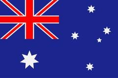 De Vlag van Australië Blauwe achtergrond met zes-gerichte sterren en een rood kruis Vector royalty-vrije illustratie