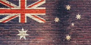 De vlag van Australië op een bakstenen muur wordt geschilderd die 3D Illustratie Stock Fotografie