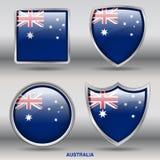 De Vlag van Australië in 4 vormeninzameling met het knippen van weg Royalty-vrije Stock Afbeelding