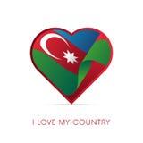 De vlag van Azerbeidzjan in hart Ik houd van mijn land teken Vector stock illustratie