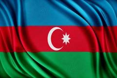 De vlag van Azerbeidzjan Vlag met een glanzende zijdetextuur Stock Foto's