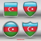 De Vlag van Azerbeidzjan in 4 vormeninzameling met het knippen van weg Royalty-vrije Stock Foto's