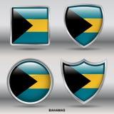 De Vlag van de Bahamas in 4 vormeninzameling met het knippen van weg Stock Fotografie