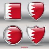 De Vlag van Bahrein in 4 vormeninzameling met het knippen van weg Stock Foto's