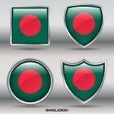 De Vlag van Bangladesh in 4 vormeninzameling met het knippen van weg Royalty-vrije Stock Foto's