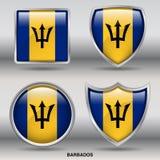 De Vlag van Barbados in 4 vormeninzameling met het knippen van weg Royalty-vrije Stock Foto's