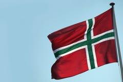De vlag van Bornholms - een Deens eiland Stock Foto