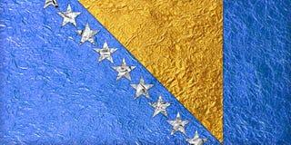 De Vlag van Bosnië-Herzegovina Stock Afbeelding