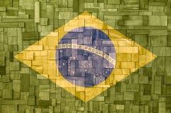 Braziliaanse vlag op een houten Textuur Royalty-vrije Stock Foto's