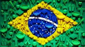 De Vlag van Brazilië met Pictogrammen Royalty-vrije Stock Fotografie