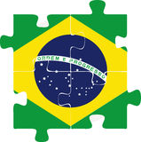 De Vlag van Brazilië in raadsel Royalty-vrije Stock Fotografie