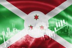 De vlag van Burundi, effectenbeurs, uitwisselingseconomie en Handel, olieproductie, containerschip in de uitvoer en de invoerzake stock fotografie