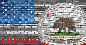 De vlag van Californië op de grijze V.S. markeert achtergrond Royalty-vrije Stock Fotografie