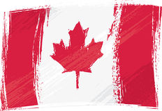 De vlag van Canada van Grunge Stock Afbeeldingen