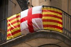 De Vlag van Catalonië en van Barcelona - Spanje Royalty-vrije Stock Afbeelding