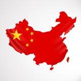 De vlag van China in vorm van kaart Mensenrepubliek van China Nationaal vlagconcept Royalty-vrije Stock Fotografie