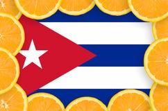 De vlag van Cuba in verse citrusvruchten snijdt kader stock illustratie