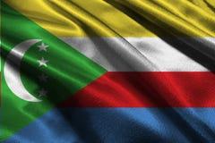 De vlag van de Comoren, 3D symbool van de de vlag 3D illustratie van de Comoren nationale Royalty-vrije Stock Fotografie