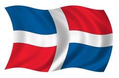 De Vlag van de Dominicaanse Republiek Stock Afbeeldingen