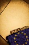 De Vlag van de Europese Unie en oud document Royalty-vrije Stock Fotografie